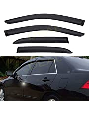 DEAL AUTO ELECTRIC PARTS 4-Piece Set Smoke Vent Window Visor, Side Window Deflector With Outside Mount Tape-On Type, Custom Compatible With For 2003-2007 Accord 4-Door Sedan Only