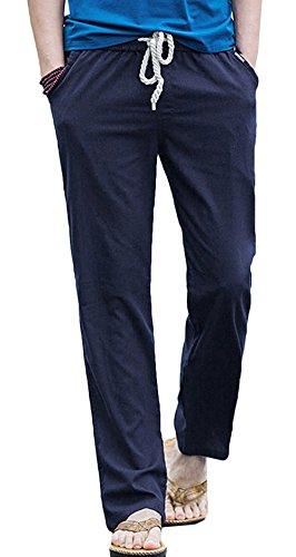 Mélange Coupe Sport De Coton Large Pantalons Respirant Été Décontracté Lin Pantalon Homme Bevalsa En Navy Léger Confortable 0wqAFII