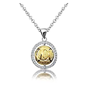 18K Yellow Gold Bead Pendant Necklace with Zircon