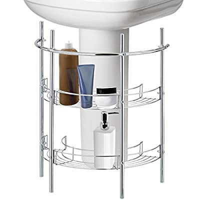 Under-the-Sink Bathroom Quality Pedestal Storage Rack with 2 Shelves & Hand Towel Bar, Chrome Plated - A clever under-the-sink storage rack for instant storage designed for pedestal sinks. Features 2 lower shelves, an upper bar for small hand towels, and a curved design to fit under most pedestal sinks. Ideal for storing toiletries in the unutilized space in the bathroom. - shelves-cabinets, bathroom-fixtures-hardware, bathroom - 413Nc6fmhRL. SS400  -