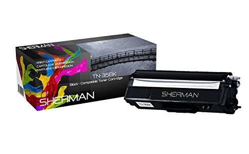 Sherman Ink Brother TN315BK TN315 Black Toner Cartridge TN 315BK HL-4150cdn HL4570cdw HL-4570cdwt MFC-9460cdn MFC-9560cdw MFC-9970cdw TN 315