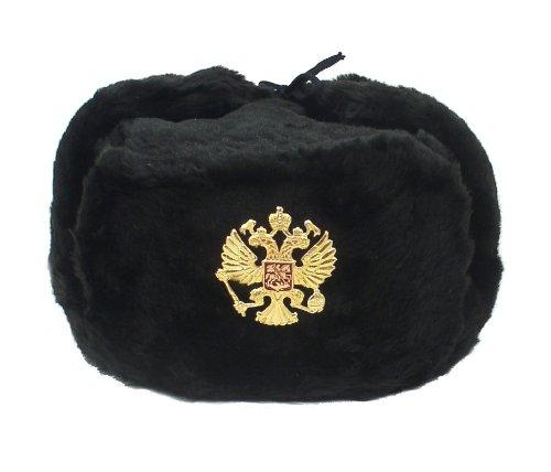 1956a1234af2e Hat Russian Soviet Imperial Eagle Black KGB  Fur Military Cossack Ushanka   Size L