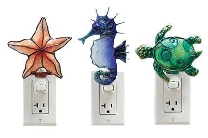 Coastal Capiz Shell Night Lights Starfish Seahorse Sea Turtle Set Of 3