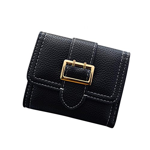 Large Purse Women Black Container Little Gift Faux Vintage Card Foldable Purse Buckle Coin Finger Leather zWpEaxqRw