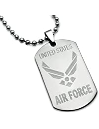 U.S. Air Force Logo with Psalm 23:4 Inscription Stainless Steel Military Style Dog Tag Necklace 24 Inches