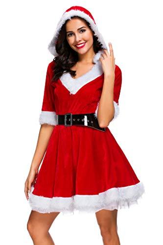 Cuteshower Christmas Women Costume Sexy Outfit Dress Santa Claus Cosplay Clothing Medium Red