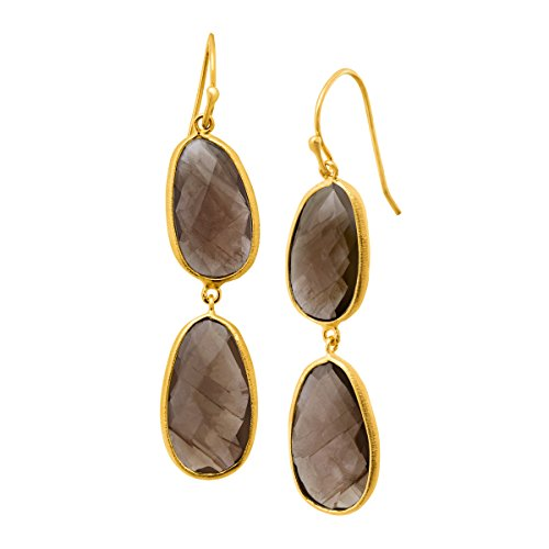 Piara 17 ct Smoky Quartz Drop Dangle Earrings in 18K Gold-Plated Sterling Silver