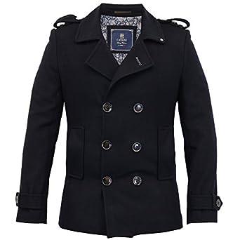 Mens Wool Mix Jacket Cavani Double Breasted Coat Slim Fit Military ...