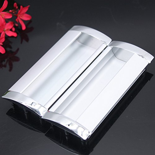 KFZ Recessed Door Handles,Aluminium Alloy Pulls Furniture Cabinet Hardware Solid Concealed HAO-5802 Wardrobe Knobs (1, 7.56'' Hole Center)