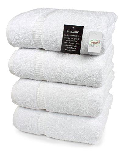 SALBAKOS Luxury Hotel & Spa Turkish Cotton 4-Piece Eco-Friendly Bath Towel Set 27 x 54 Inch, White
