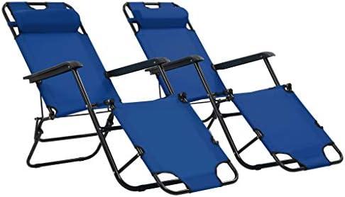 vidaXL 2X Tumbonas Plegables con Reposapiés Azul Mobiliario de Terraza Jardín: Amazon.es: Hogar