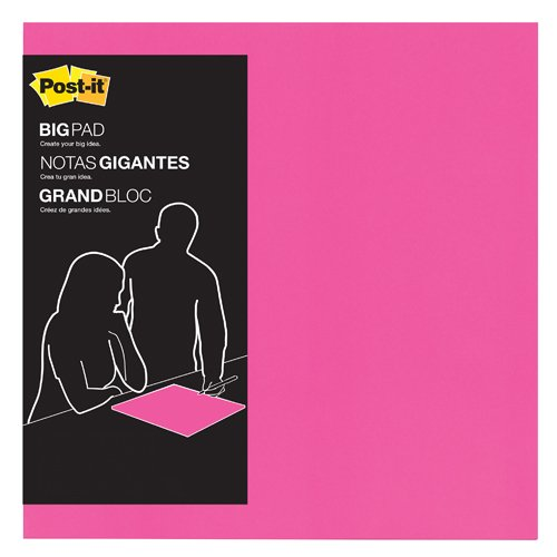 Post-it Big Pad, 15 in x 15 in, Bright Pink, 30 Sheets/Pad (BP15P)
