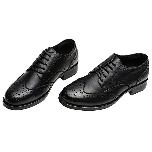 rismart Women's Brogue Pointed Toe Wingtips Work&Wedding Dress Leather Oxfords Shoes 02372(Black,US7) by rismart (Image #2)