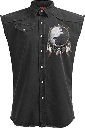 Stonewashed Denim Jacket - Spiral Mens - Wolf Chi - Sleeveless Stone Washed Worker Plus Size - 3XL