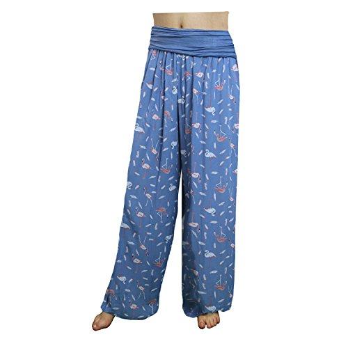 Glamexx24 Damen Pumphose Haremhose Freizeithose Sommerhose Hose mit Blumen Muster 23 Blau