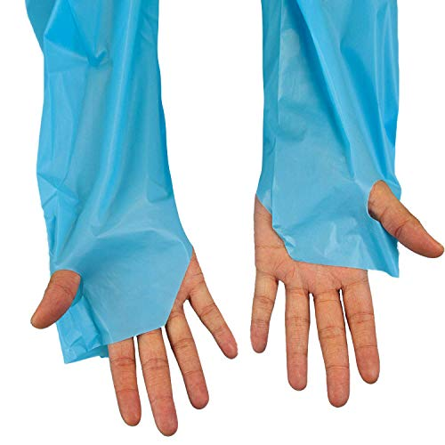 SAFE HANDLER Disposable Sleeve Gown | Open Back with Thumb Loops, 0.5 MIL, Blue, 100 Count by Safe Handler (Image #3)