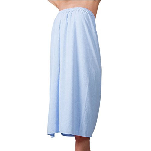 Bath skirt, super clean absorbent bathrobe bathrobe clasp velcro sweat absorbent cloth wrapped steaming clothes chest wall, Blue