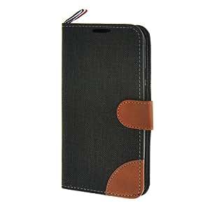 MOONCASE Canvas fabric Leather Card Wallet Slot Flip Bracket Back Case Cover for Motorola Moto X+1 Black