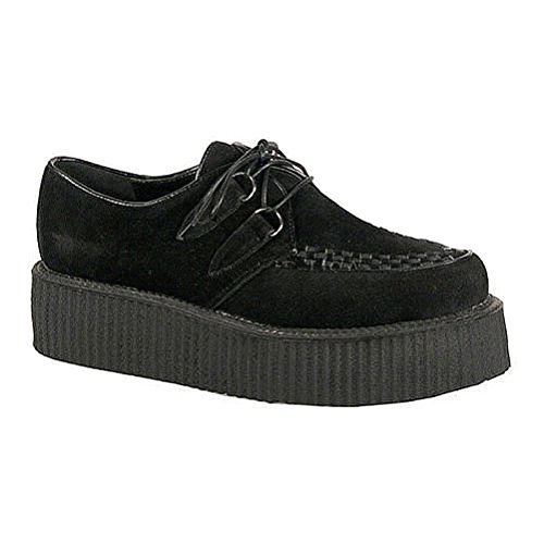 Demonia Suede Platforms - Demonia Mens 2 Inch Wedge Platform Lace Up Shoes Veggie Black Creepers Mens Sizing Size: 9