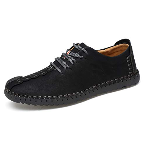 TUCSSON Men's Handmade Suede Leather Oxford ShoesBritish Style Flats Lace-up Loafers Casual Sneakers Black ()