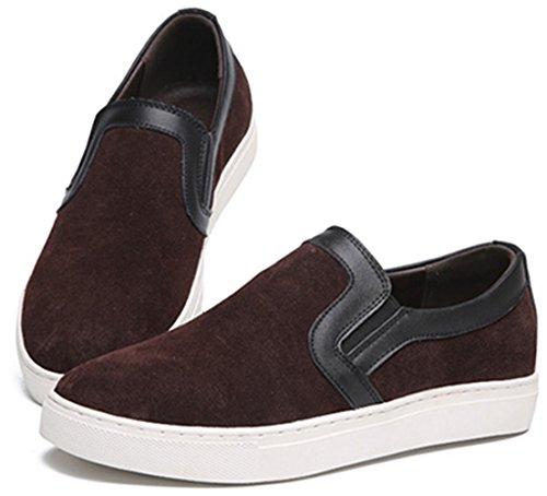 Ppxid Mens Mocassins Slip-on En Cuir Suédé Casual Chaussures Oxford Marron