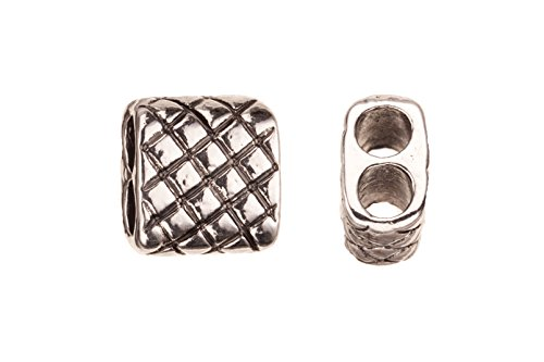 Antique Checkerboard - Checkerboard Long Tube Antique-Silver Plated Licorice Leather Cord Charm 12.5x13.8mm sold per pack of 8
