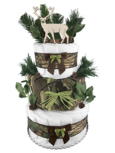 Camo 3-Tier Diaper Cake for a Boy - 62 Size 1 Diapers - Baby Shower Gift - Centerpiece - Buck/Deer - Green and Brown