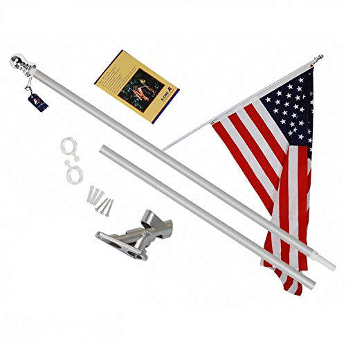 A-ONE 6Ft Tangle Free Spinning Flagpole Deluxe Aluminum American US Flag Pole with Stainless Steel Rust Prevention Clip and Free Bracket for Outdoor Residential or Commercial Wall Mount, Silver