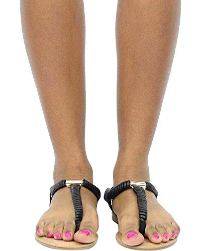 Bambu Kvinna T-rem Sandal (tillgängligt I 2 Färger) Svart