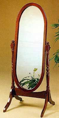 Oval Cherry Finish Cheval Mirror ()
