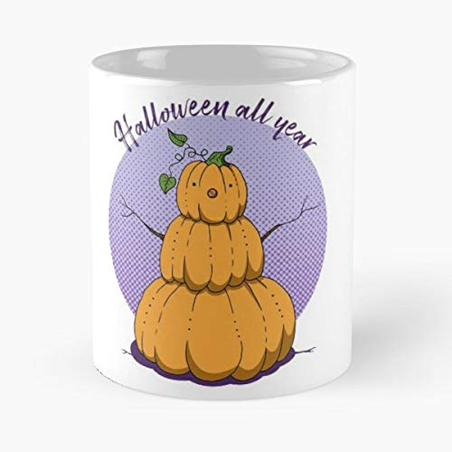 Halloween Cute Pumpkin Snowman - 11 Oz Coffee Mugs Unique Ceramic Novelty Cup, The Best Gift For Halloween. -