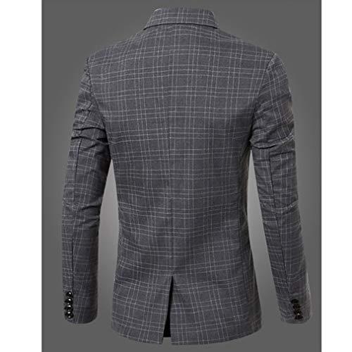 Casuale Fit Dimensioni Outwear Vestito Affari Grandi Giacca Slim Button Cappotto Uomo Grigio Plaid Di Elegante Classico One Blazers YzWpqSR