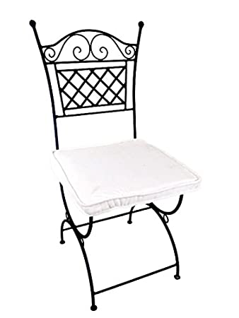 Original Orientalischer Stuhl Gartenstuhl Aus Metall Schwarz Caravaca |  Marokkanischer Balkonstuhl Inkl. Sitzkissen Stuhlkissen |