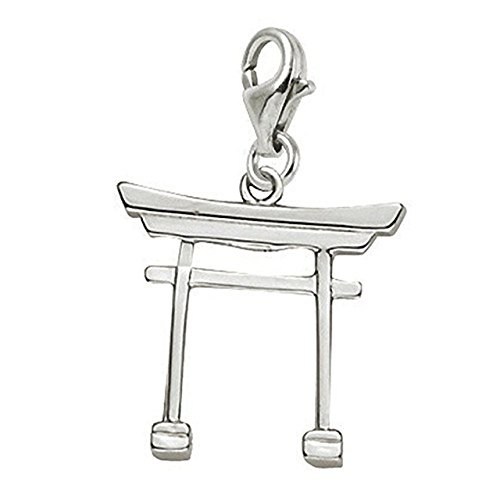 14k White Gold Japanese Tori Gate Charm With Lobster Claw Clasp, Charms for Bracelets and Necklaces