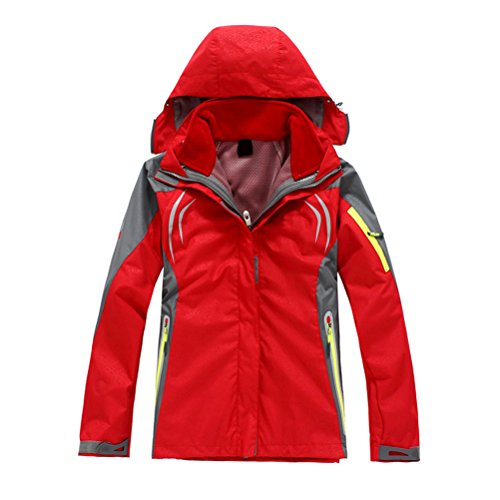 Zhhlinyuan Hot Sale Mujeres Outdoor Sports Hiking Climbing Warm Jacket Waterproof Coat Outwear Red