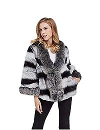 LVCOMEFF Women Rex Rabbit Fur Chinchilla Short Coat with Silver Fox Collar Plus Size