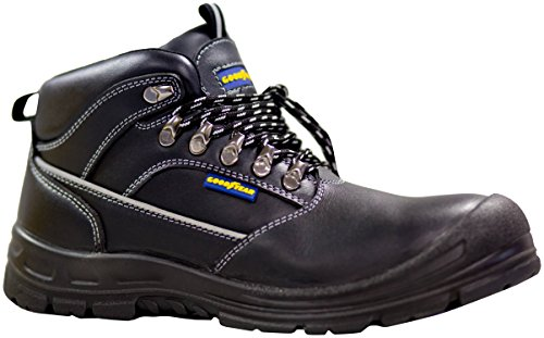 Goodyear G140-40PC - Bota en piel flor, color negro