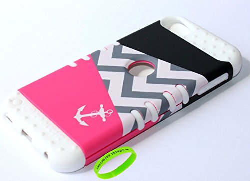 Cellphone Trendz 3-piece Impact Hybrid Combo Hard Case Cover For iPod Touch 5th Generation - Chevron Anchor Design Hard Case (Pink Triangle Anchor on White Silicone)