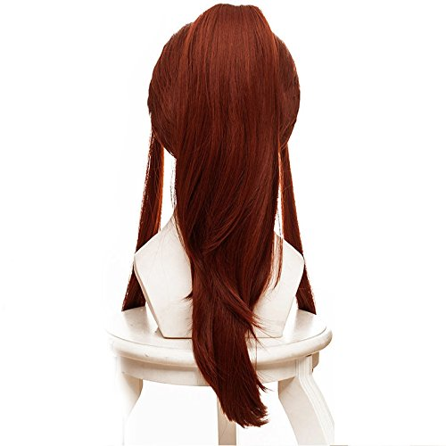 JCvCX New Game Role Brigitte Heroine Cosplay Wigs Long Curly Ponytail with Hairnet Brown