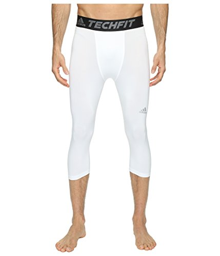 adidas Mens Training Techfit 3/4 Tights, White/Vista Grey, XX-Large