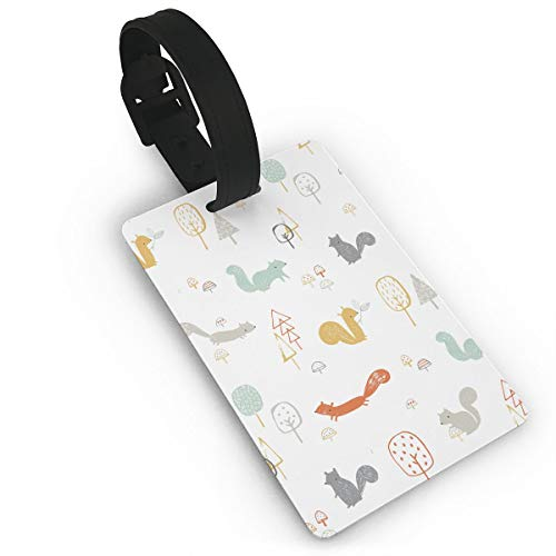 Diemeouk Luggage Tags for Suitcases Squirrel Tree Animal PVC Baggage Cards for Cruise Ships ()