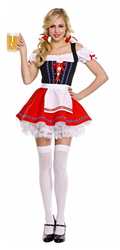 Coswe Womens Bavarian Beer Girl Maid Sexy Oktoberfest Fancy Dress Costume (XL) (Beer Maid Costumes)