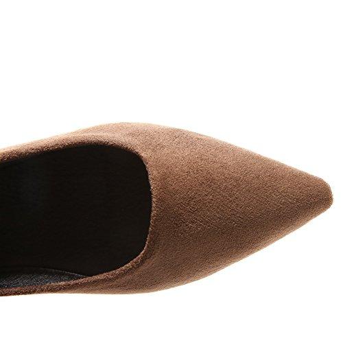 AalarDom Femme Couleur Unie Dépolissement à Talon Bas Tire Chaussures Légeres Brun WP9Jz72Kmt