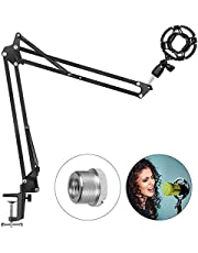 Verstelbare Microfoon Stand Mic Suspension Boom, Compacte Bureau Mic Stand Suspension Arm Stand met Shock Mount Tafel Bevestiging Klem Schroef Adapter voor Blue Yeti Snowball Studio Stages-Duomishu
