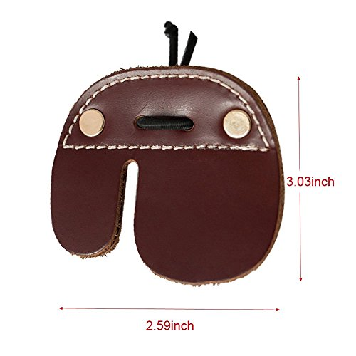 5449302649a9 CyberDyer Cow Leather Archery Finger Tab for Recurve Bows Hunting Finger  Protector Brown