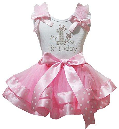 - Petitebella 1st Birthday Dress White Shirt Dot Ribbon Pink Petal Skirt Set Nb-2y (3-12 Months)
