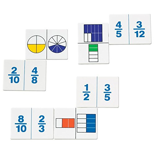 hand2mind Plastic Fraction Dominoes Game, Math Manipulative Tiles (Set of 30)