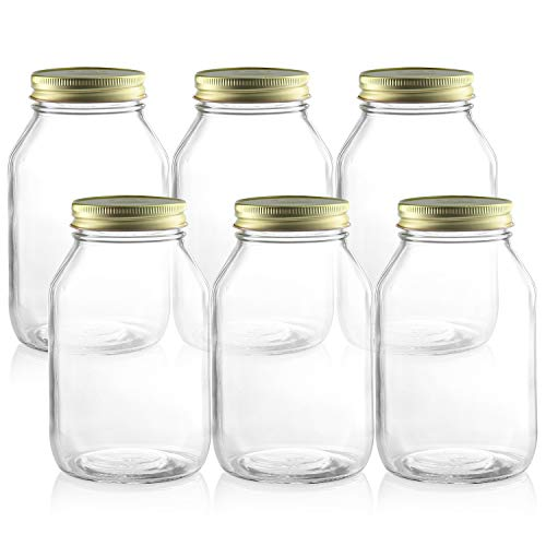 Pack of 6-32 oz Glass Mason Jars - 32 Ounce Round Clear Jars with Lids- set of 6 Regular Mouth Quart Mason Jar with Metal Airtight Sealing Lid and Labels - for Canning, pickling, Gifting, Storage