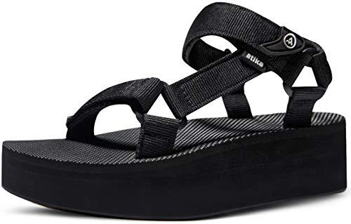 ATIKA Women's Islander Trail Outdoor Water Shoes Strap Sport Sandals, Raised Islander(w215) - Black, 8