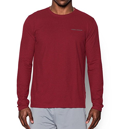 Under Armour Men's Charged Cotton Long Sleeve T-Shirt, Cardinal/Graphite, Small